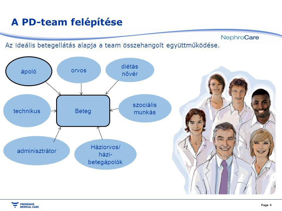A PD-team felépítése Az ideális betegellátás alapja a team összehangolt együttműködése. Page 4 diétás nővér szociális munkás Háziorvos/ házi- betegápo