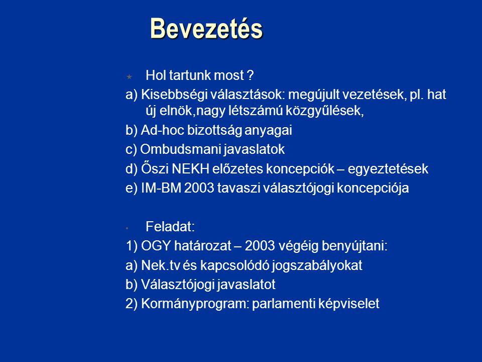 Bevezetés  Hol tartunk most . a) Kisebbségi választások: megújult vezetések, pl.