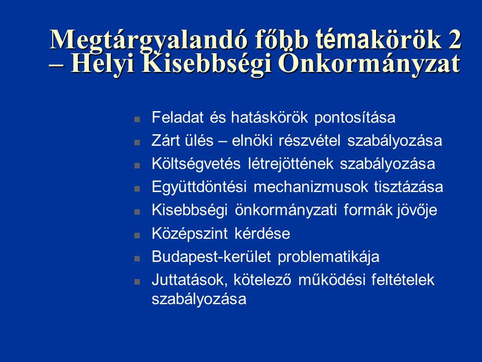 Megtárgyalandó főbb téma körök 2 – Helyi Kisebbségi Önkormányzat Feladat és hatáskörök pontosítása Zárt ülés – elnöki részvétel szabályozása Költségvetés létrejöttének szabályozása Együttdöntési mechanizmusok tisztázása Kisebbségi önkormányzati formák jövője Középszint kérdése Budapest-kerület problematikája Juttatások, kötelező működési feltételek szabályozása