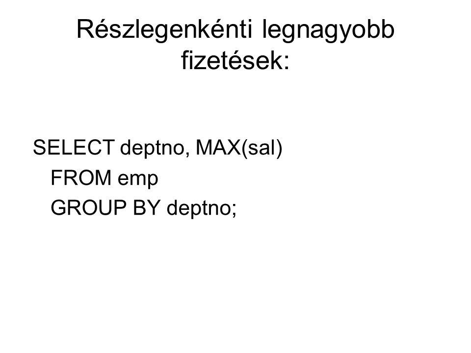 Részlegenkénti legnagyobb fizetések: SELECT deptno, MAX(sal) FROM emp GROUP BY deptno;