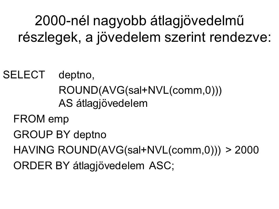 Megoldás SELECT min(sal+ NVL(comm,0)) AS minimum, MOD(empno,3) AS oszthatóság FROM emp GROUP BY MOD(empno,3) HAVING min(sal+nvl(comm,0)) > 800;