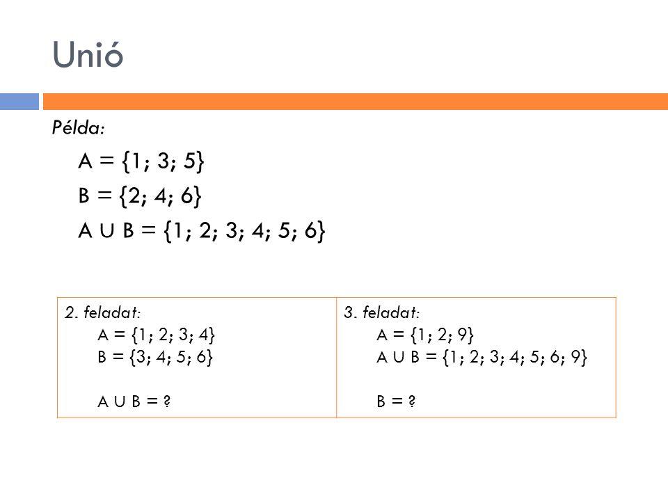 Unió Példa: A = {1; 3; 5} B = {2; 4; 6} A ∪ B = {1; 2; 3; 4; 5; 6} 2. feladat: A = {1; 2; 3; 4} B = {3; 4; 5; 6} A ∪ B = ? 3. feladat: A = {1; 2; 9} A