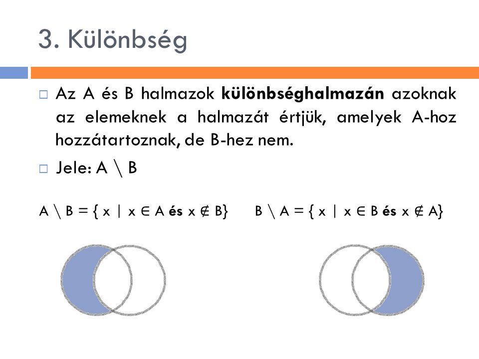 3. Különbség  Az A és B halmazok különbséghalmazán azoknak az elemeknek a halmazát értjük, amelyek A-hoz hozzátartoznak, de B-hez nem.  Jele: A \ B