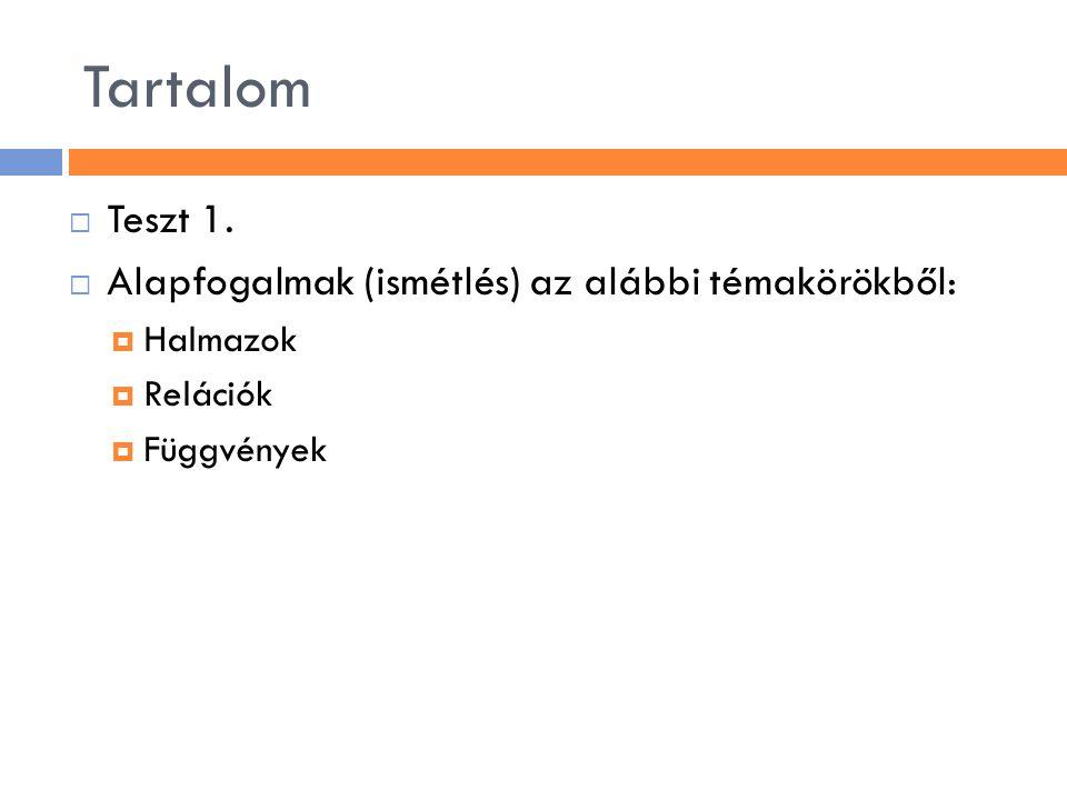 Tartalom  Teszt 1.  Alapfogalmak (ismétlés) az alábbi témakörökből:  Halmazok  Relációk  Függvények