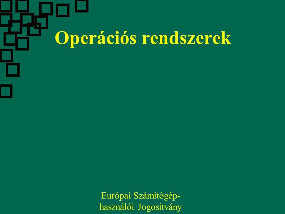 Operációs rendszerek Európai Számítógép- használói Jogosítvány