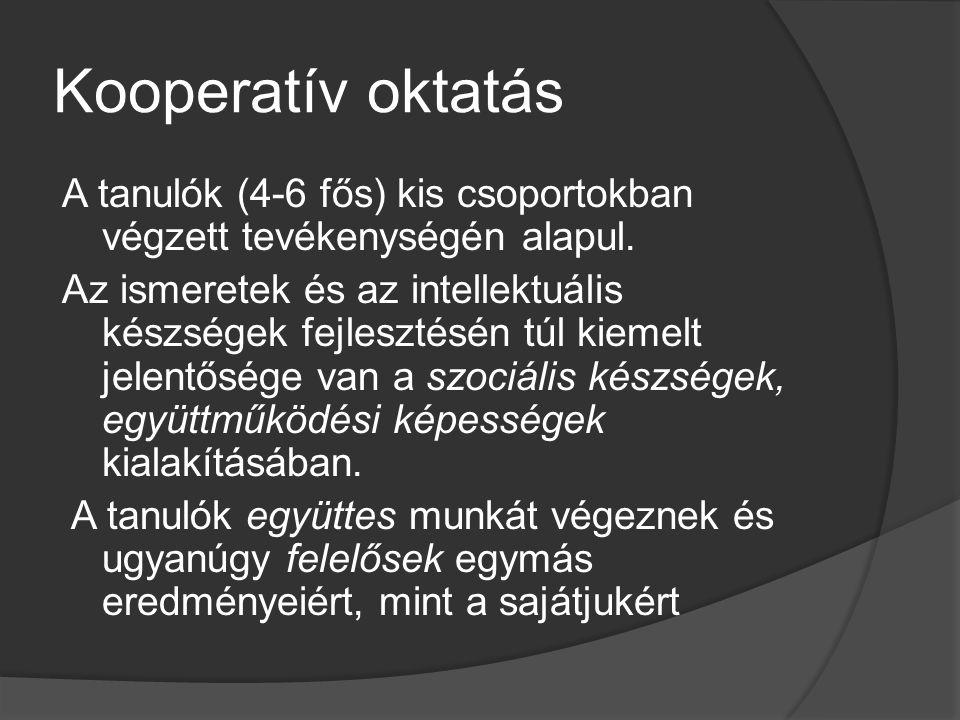 A kooperatív oktatás előnyei  Az együttműködés tanítása az oktatási folyamatban – az oktatás hatékonyságának növelése  Individualizálás előnyös: speciális ismeretek, egyszerű kérdések esetén  Versenyeztető tanulás előnyös: gyakorlatot igénylő ismeretek, gyors ellenőrzés esetén  Együttműködés előnyös: ismeretek, elvek alkalmazása, komplex fogalmak megértése, probléma megoldása, kreativitás, perspektívák megértése, emberi különbségek elfogadása, előítélet csökkentése, pozitív beállítottság az iskolával, a tanulással szemben, önmagával szemben