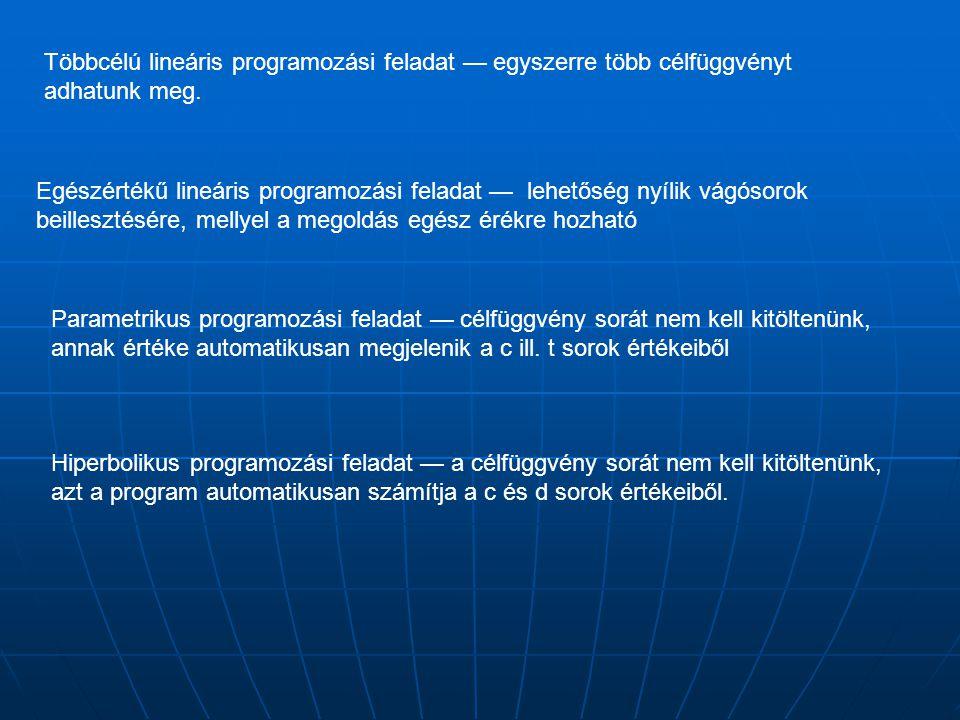 Többcélú lineáris programozási feladat — egyszerre több célfüggvényt adhatunk meg.