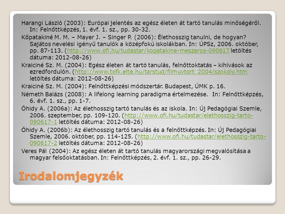 Irodalomjegyzék Harangi László (2003): Európai jelentés az egész életen át tartó tanulás minőségéről. In: Felnőttképzés, 1. évf. 1. sz., pp. 30-32. Kő