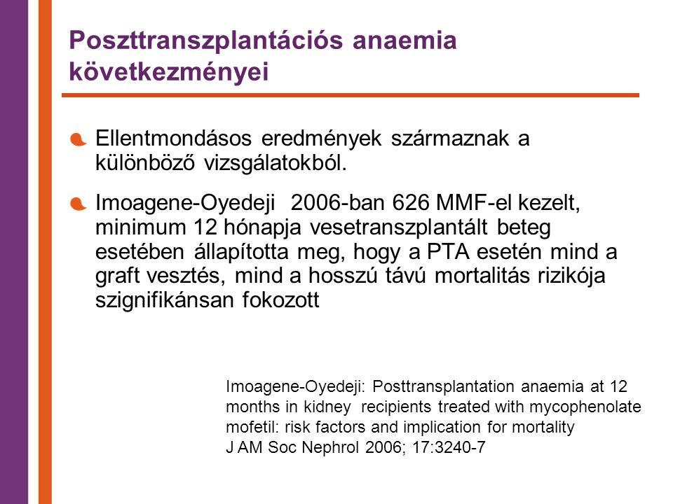 Poszttranszplantációs anaemia következményei Ellentmondásos eredmények származnak a különböző vizsgálatokból.