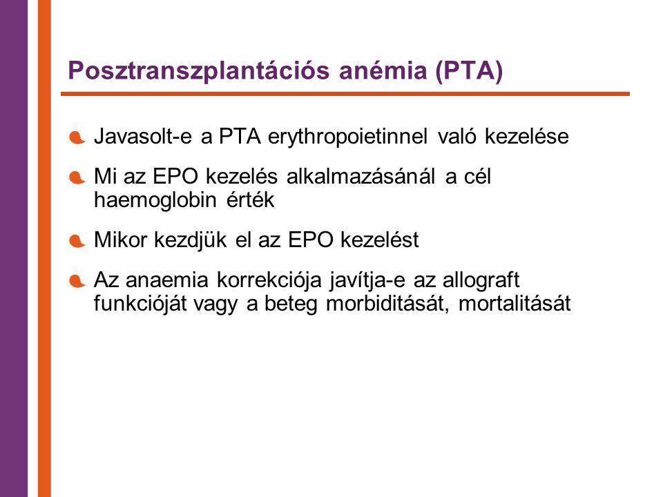 Posztranszplantációs anémia (PTA) Javasolt-e a PTA erythropoietinnel való kezelése Mi az EPO kezelés alkalmazásánál a cél haemoglobin érték Mikor kezdjük el az EPO kezelést Az anaemia korrekciója javítja-e az allograft funkcióját vagy a beteg morbiditását, mortalitását