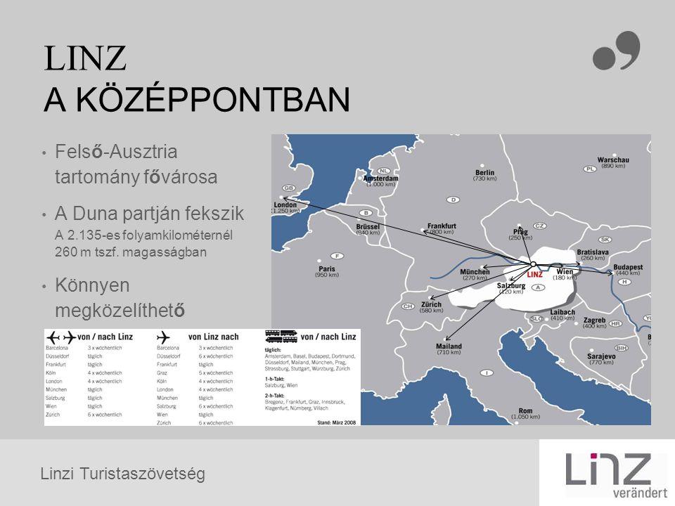 Linzi Turistaszövetség LINZ A KÖZÉPPONTBAN Felső-Ausztria tartomány fővárosa A Duna partján fekszik A 2.135-es folyamkilométernél 260 m tszf. magasság