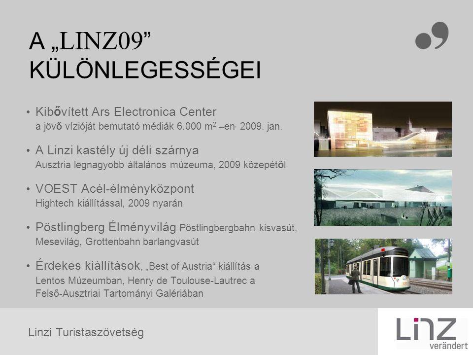 """Linzi Turistaszövetség A """" LINZ09 """" KÜLÖNLEGESSÉGEI Kibővített Ars Electronica Center a jövő vízióját bemutató médiák 6.000 m 2 –en, 2009. jan. A Linz"""