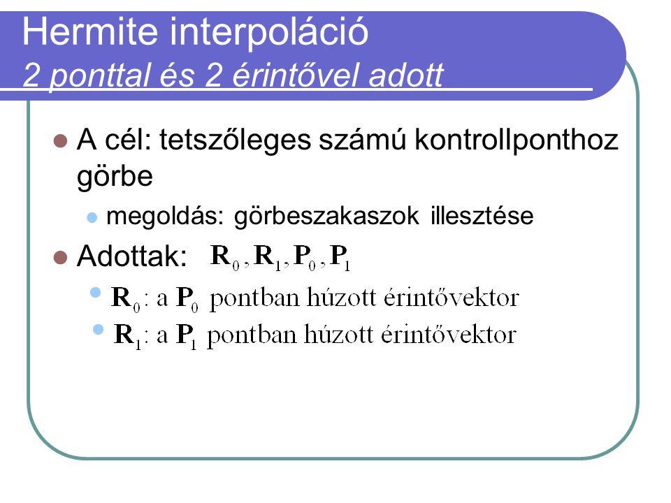 Hermite interpoláció 2 ponttal és 2 érintővel adott A cél: tetszőleges számú kontrollponthoz görbe megoldás: görbeszakaszok illesztése Adottak: