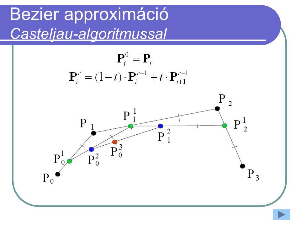 Bezier approximáció Casteljau-algoritmussal