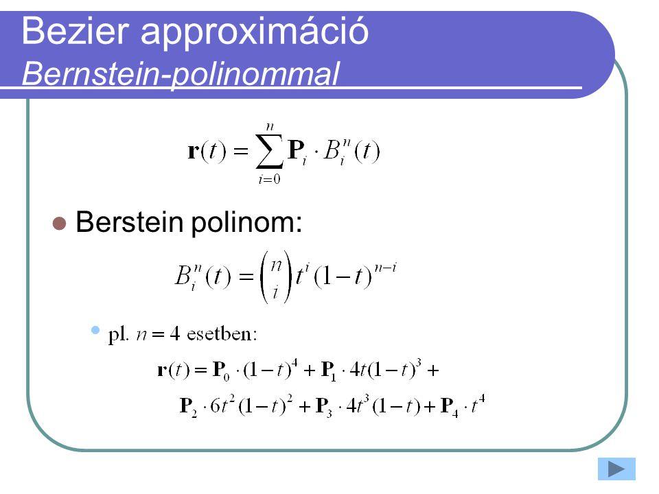 Bezier approximáció Bernstein-polinommal Berstein polinom: