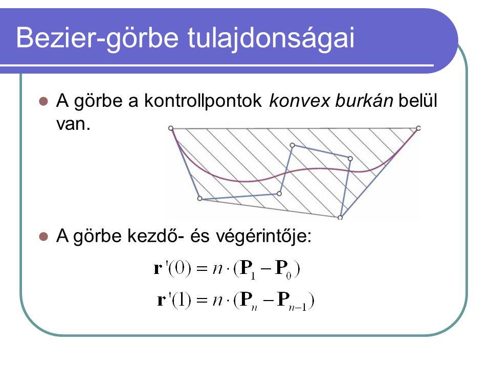 Bezier-görbe tulajdonságai A görbe a kontrollpontok konvex burkán belül van.