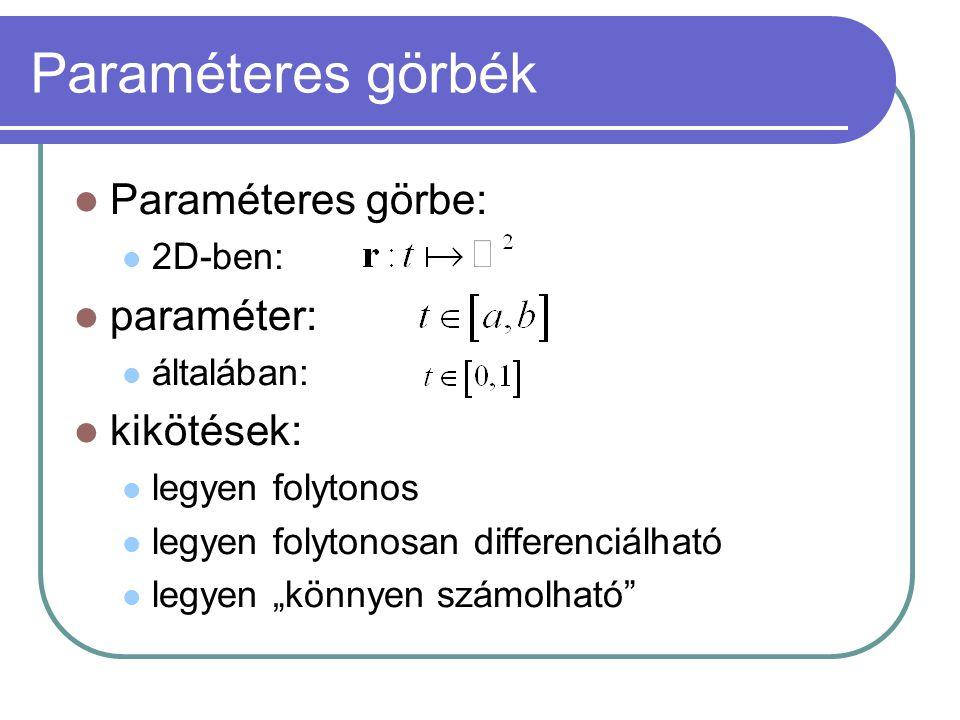 """Paraméteres görbék Paraméteres görbe: 2D-ben: paraméter: általában: kikötések: legyen folytonos legyen folytonosan differenciálható legyen """"könnyen számolható"""