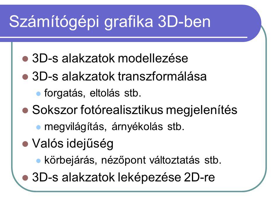 Számítógépi grafika 3D-ben 3D-s alakzatok modellezése 3D-s alakzatok transzformálása forgatás, eltolás stb.