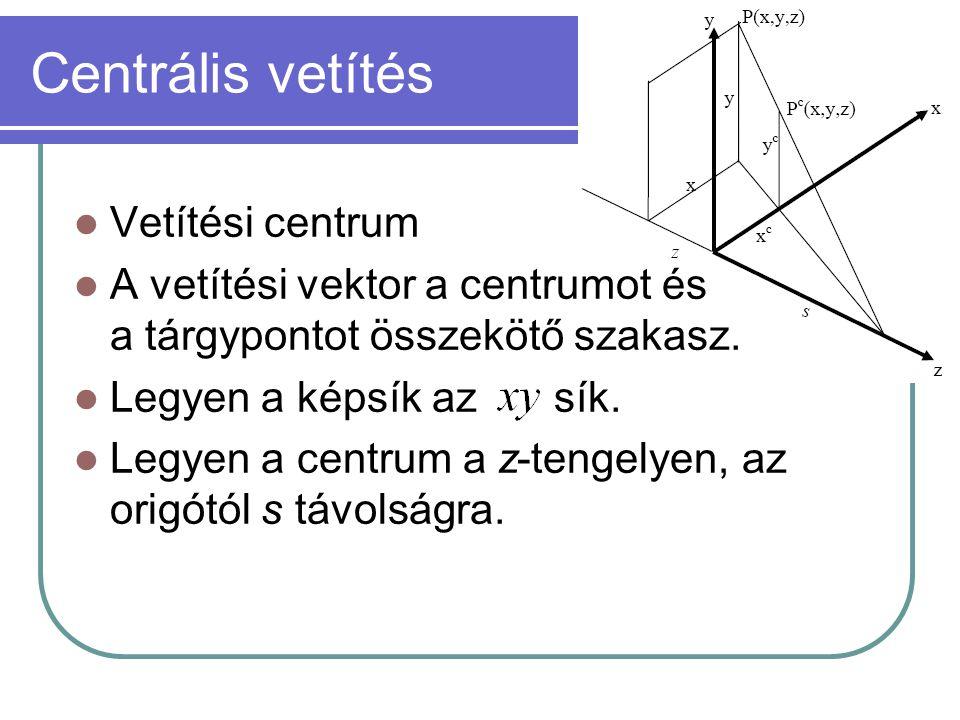 Centrális vetítés Vetítési centrum A vetítési vektor a centrumot és a tárgypontot összekötő szakasz.