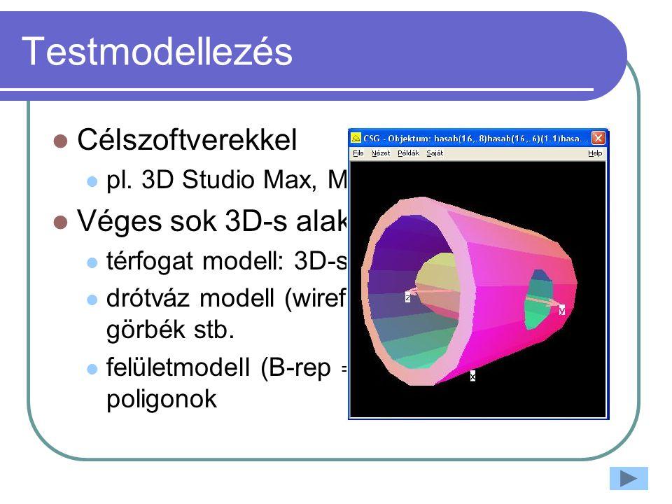 Testmodellezés Célszoftverekkel pl.
