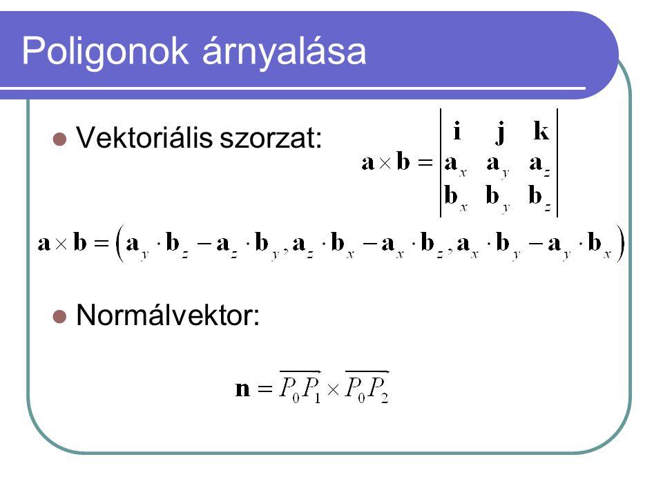 Poligonok árnyalása Vektoriális szorzat: Normálvektor: