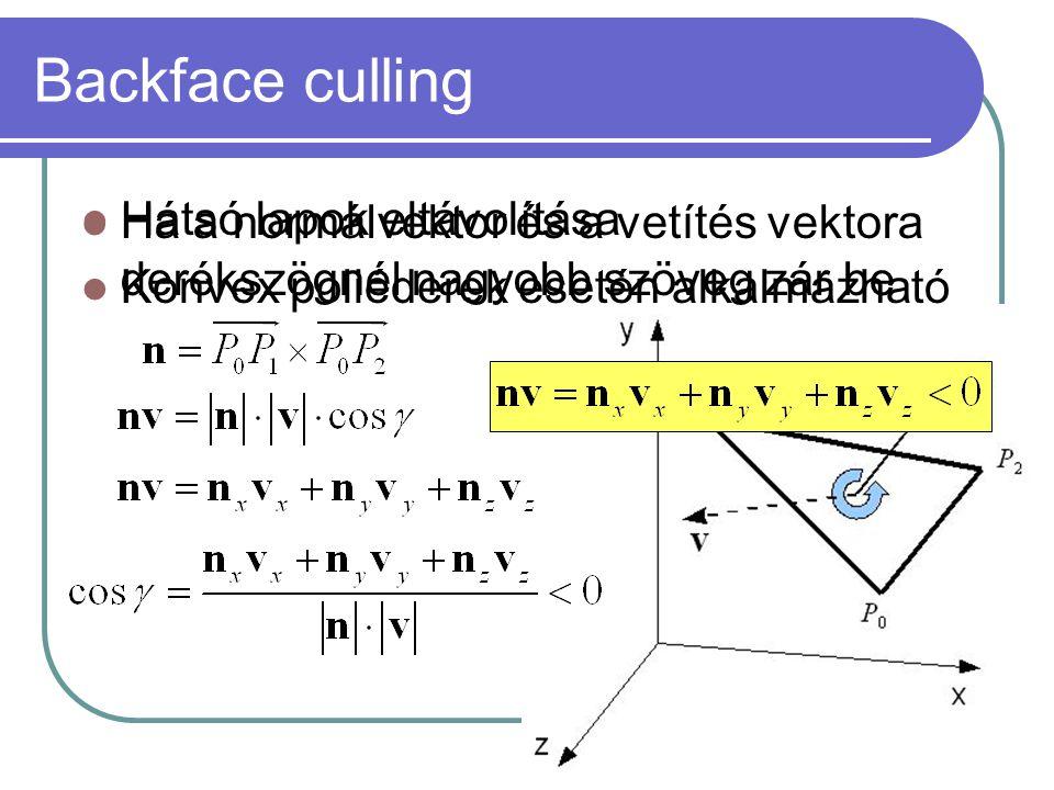 Backface culling Hátsó lapok eltávolítása Konvex poliéderek esetén alkalmazható Ha a normálvektor és a vetítés vektora derékszögnél nagyobb szöveg zár be