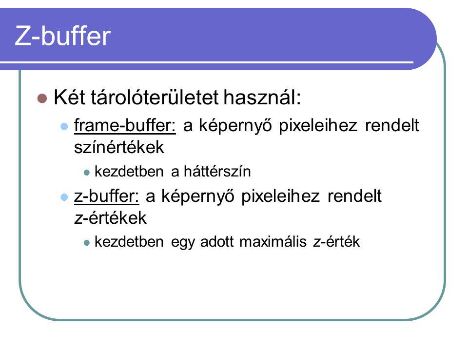 Két tárolóterületet használ: frame-buffer: a képernyő pixeleihez rendelt színértékek kezdetben a háttérszín z-buffer: a képernyő pixeleihez rendelt z-értékek kezdetben egy adott maximális z-érték