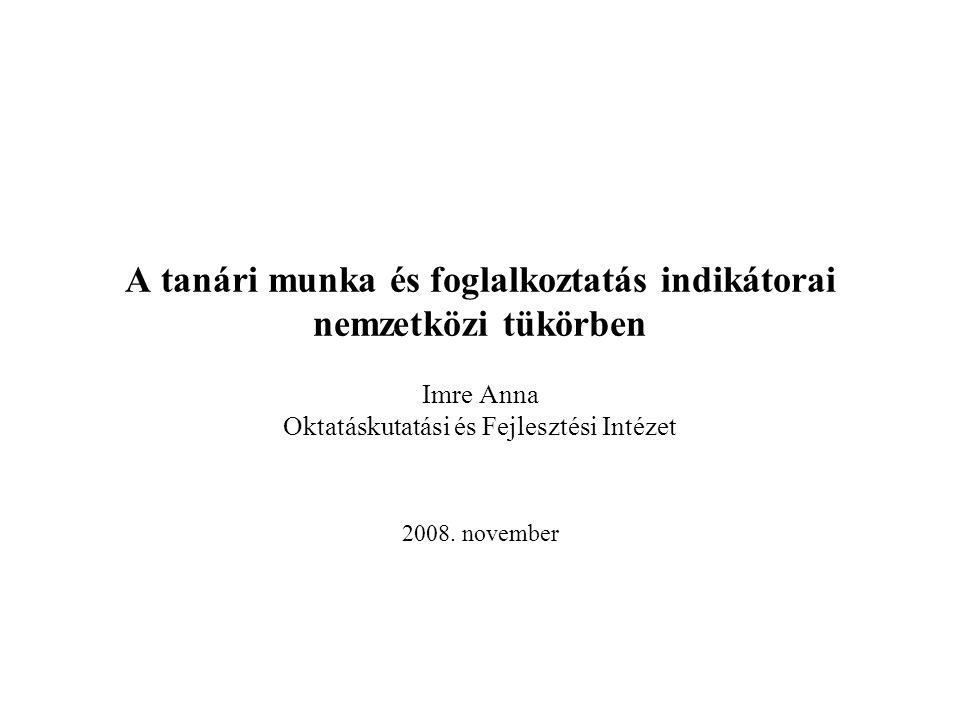 A tanári munka és foglalkoztatás indikátorai nemzetközi tükörben Imre Anna Oktatáskutatási és Fejlesztési Intézet 2008.