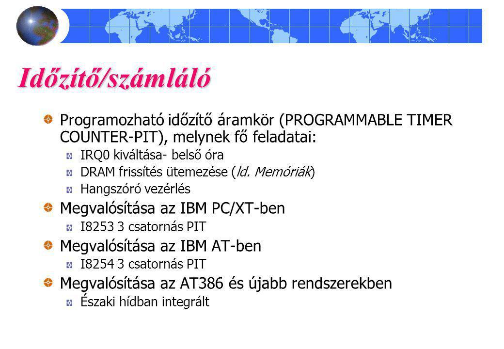 Időzítő/számláló Programozható időzítő áramkör (PROGRAMMABLE TIMER COUNTER-PIT), melynek fő feladatai: IRQ0 kiváltása- belső óra DRAM frissítés ütemezése (ld.