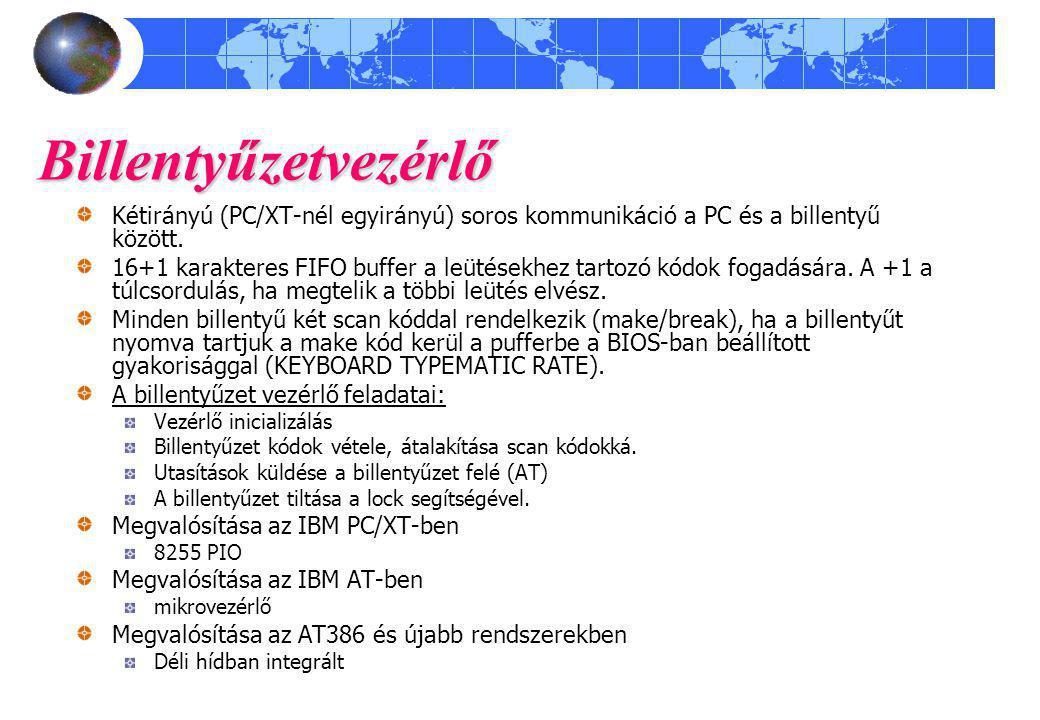 Billentyűzetvezérlő Kétirányú (PC/XT-nél egyirányú) soros kommunikáció a PC és a billentyű között.