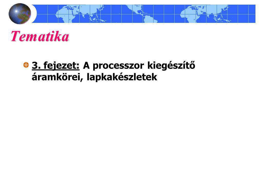Tematika 3. fejezet: A processzor kiegészítő áramkörei, lapkakészletek