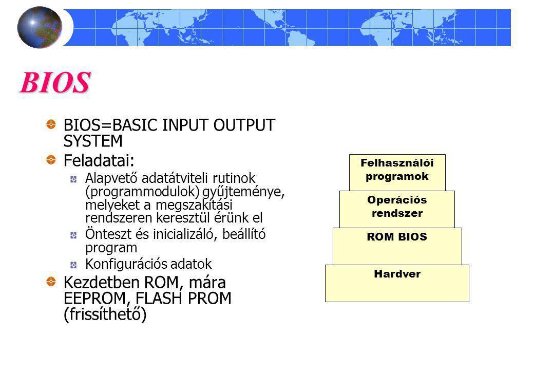BIOS BIOS=BASIC INPUT OUTPUT SYSTEM Feladatai: Alapvető adatátviteli rutinok (programmodulok) gyűjteménye, melyeket a megszakítási rendszeren keresztül érünk el Önteszt és inicializáló, beállító program Konfigurációs adatok Kezdetben ROM, mára EEPROM, FLASH PROM (frissíthető) Hardver ROM BIOS Operációs rendszer Felhasználói programok