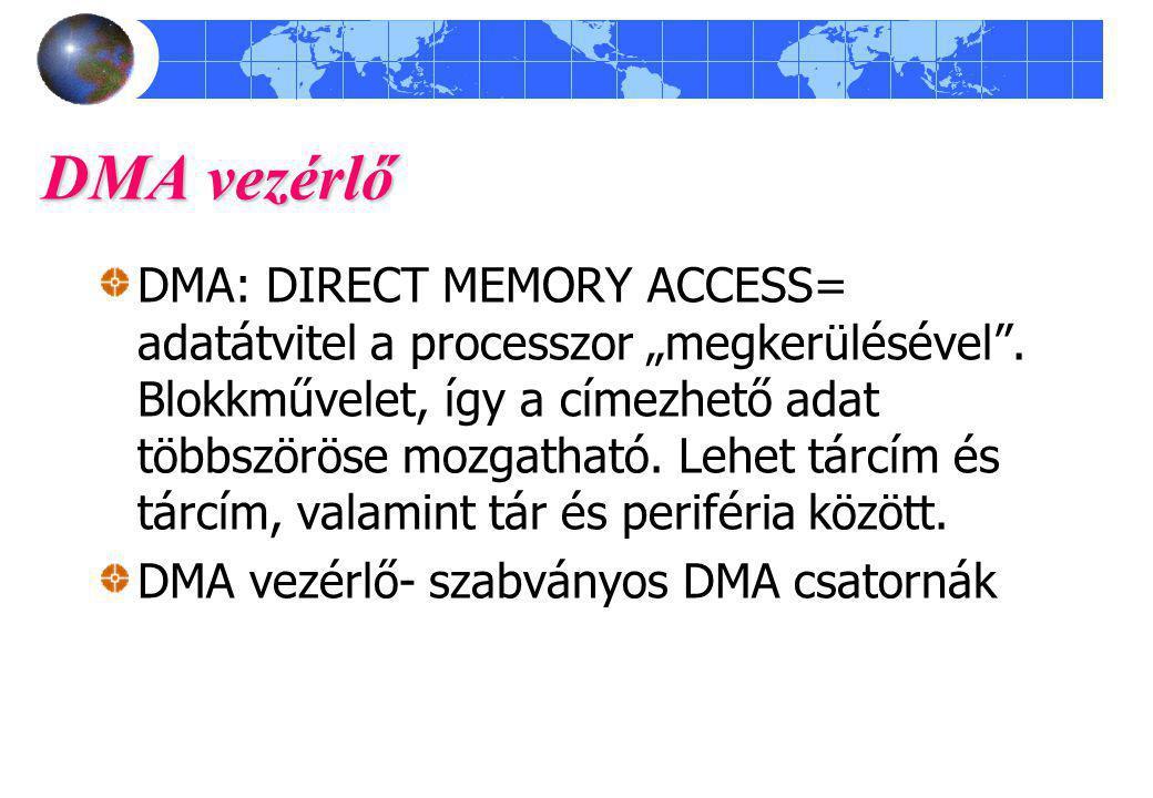 """DMA vezérlő DMA: DIRECT MEMORY ACCESS= adatátvitel a processzor """"megkerülésével ."""