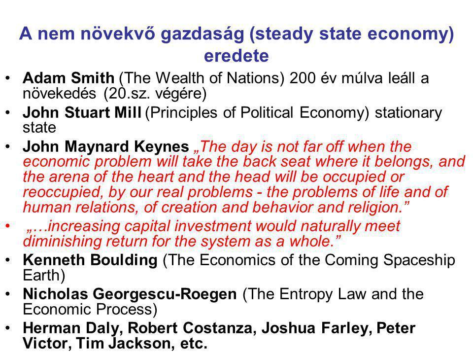 A nem növekvő gazdaság (steady state economy) eredete Adam Smith (The Wealth of Nations) 200 év múlva leáll a növekedés (20.sz. végére) John Stuart Mi