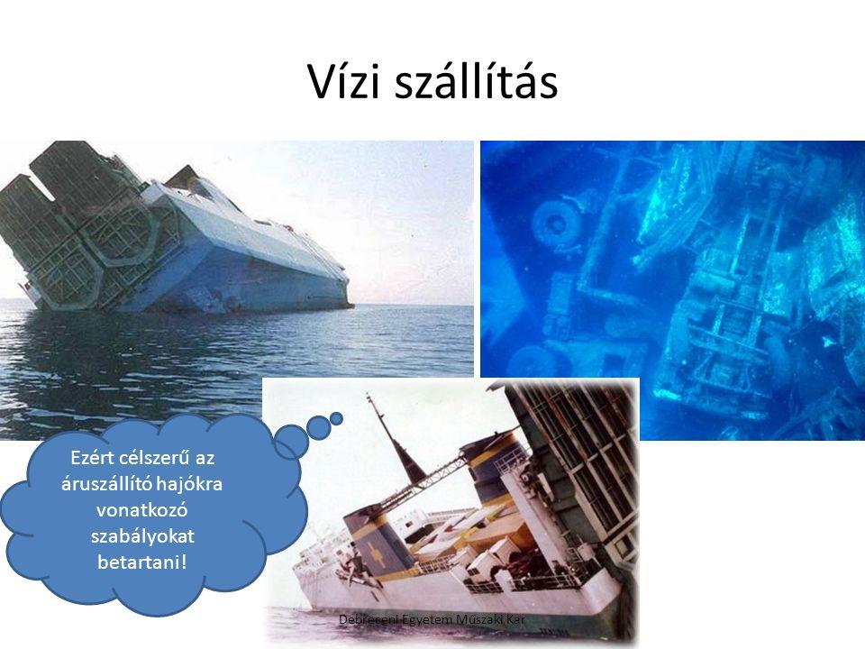 Vízi szállítás Debreceni Egyetem Műszaki Kar Ezért célszerű az áruszállító hajókra vonatkozó szabályokat betartani!