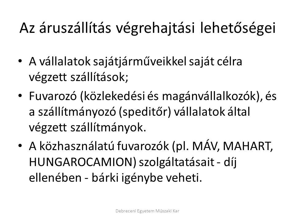 Az áruszállítási feladatok főbb csoportjai a feladási és rendeltetési helyek egymáshoz viszonyított földrajzi elhelyezkedése szerint Debreceni Egyetem Műszaki Kar Áruszállítási feladatok NemzetköziInterkontinentálisTranszkontinentálisBelföldiTávolsági Körzeti (regionális) Helyi (városi)