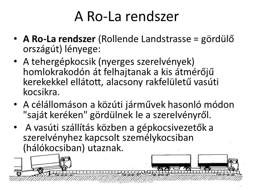 A Ro-La rendszer A Ro-La rendszer (Rollende Landstrasse = gördülő országút) lényege: A tehergépkocsik (nyerges szerelvények) homlokrakodón át felhajtanak a kis átmérőjű kerekekkel ellátott, alacsony rakfelületű vasúti kocsikra.