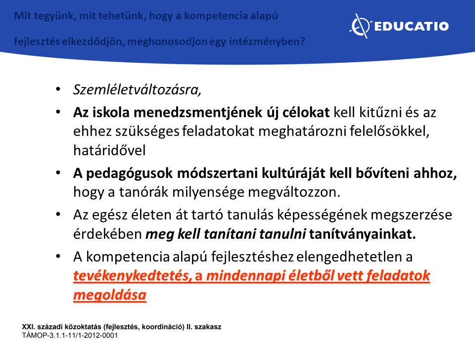 Szemléletváltozásra, Az iskola menedzsmentjének új célokat kell kitűzni és az ehhez szükséges feladatokat meghatározni felelősökkel, határidővel A ped