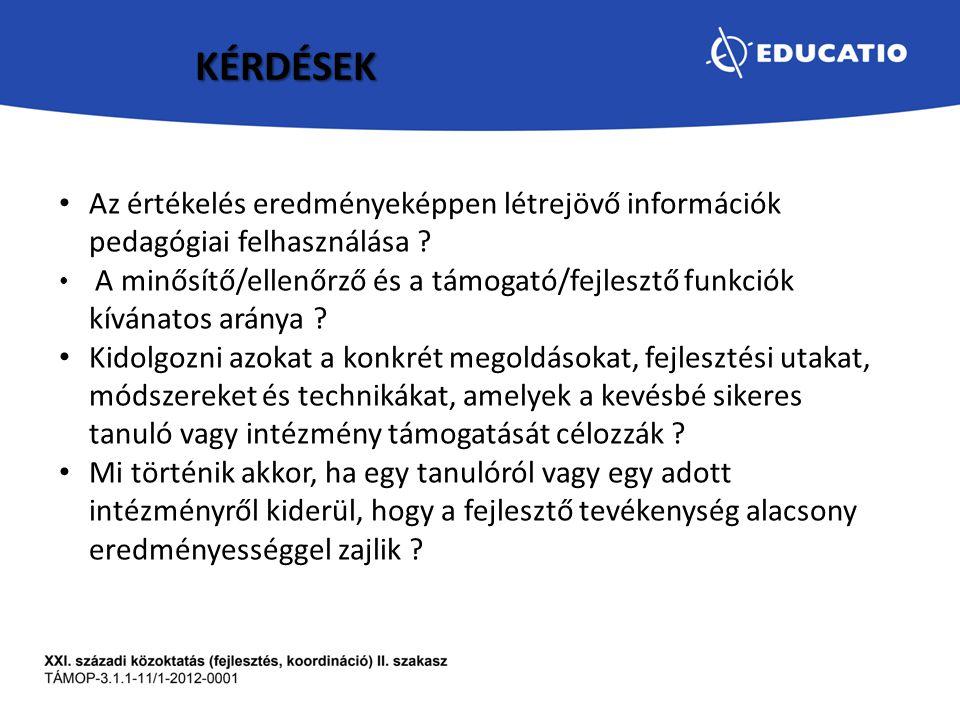 KÉRDÉSEK Az értékelés eredményeképpen létrejövő információk pedagógiai felhasználása ? A minősítő/ellenőrző és a támogató/fejlesztő funkciók kívánatos