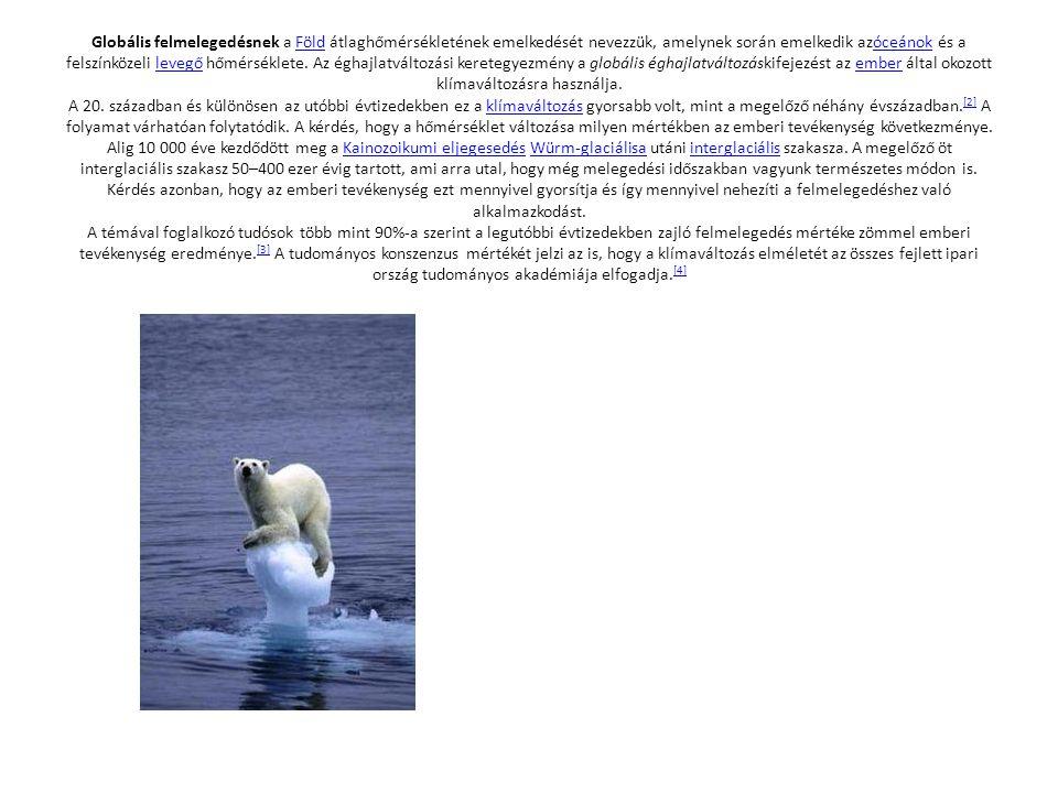Az utolsó száz év éghajlatváltozása[szerkesztés | forrásszöveg szerkesztése] Az Éghajlat-változási Kormányközi Testület (Intergovernmental Panel on Climate Change, IPCC) adatai szerint a levegő földközeli átlaghőmérséklete 1905 és 2005között 0,74 ± 0,18 °C-kal nőtt meg.