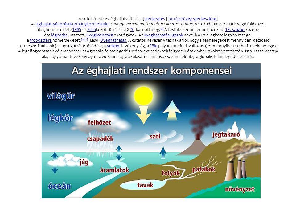 Megfigyelt hőmérséklet-változás[szerkesztés | forrásszöveg szerkesztése] A hőmérséklet növekedésére számos bizonyíték létezik a levegő és az óceánok hőmérsékletének melegedésétől a gleccserek olvadásán át a tengerszint emelkedéséig.
