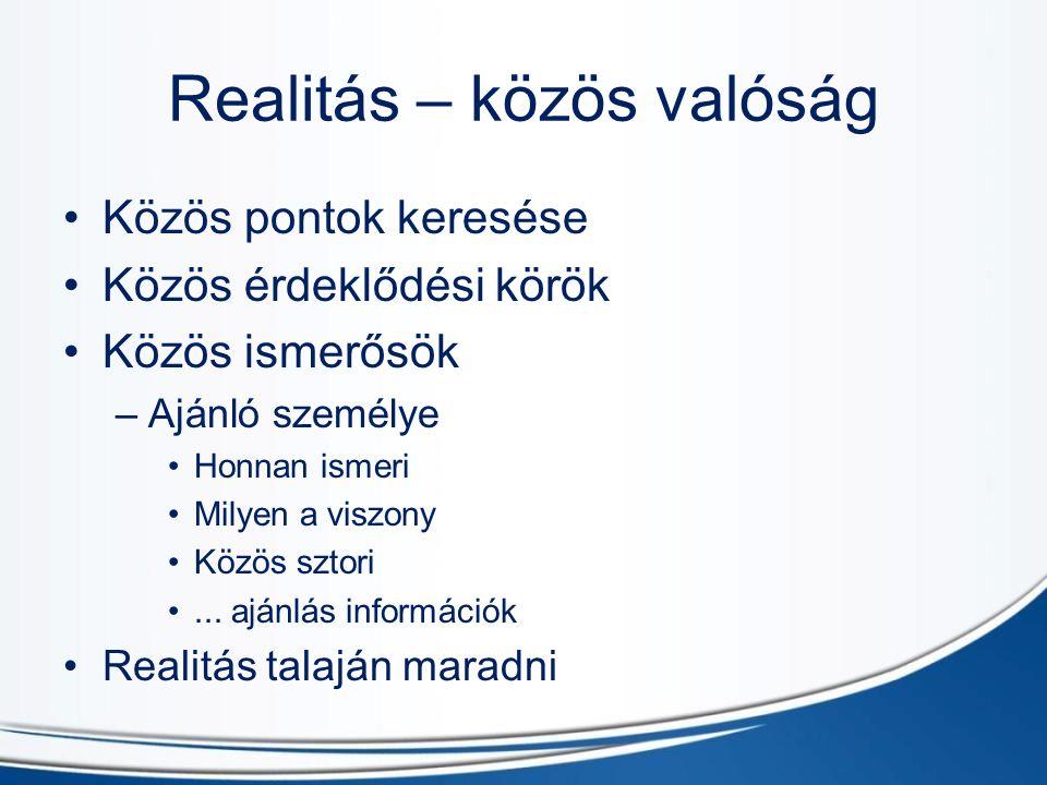 Realitás – közös valóság Közös pontok keresése Közös érdeklődési körök Közös ismerősök –A–Ajánló személye Honnan ismeri Milyen a viszony Közös sztori...