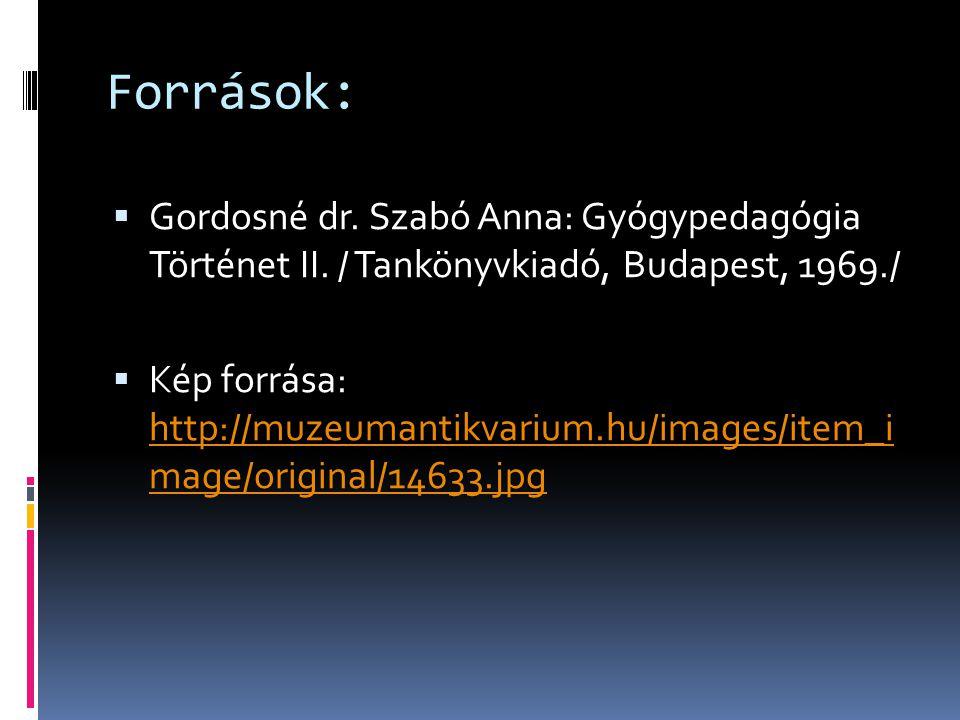 Források:  Gordosné dr. Szabó Anna: Gyógypedagógia Történet II.