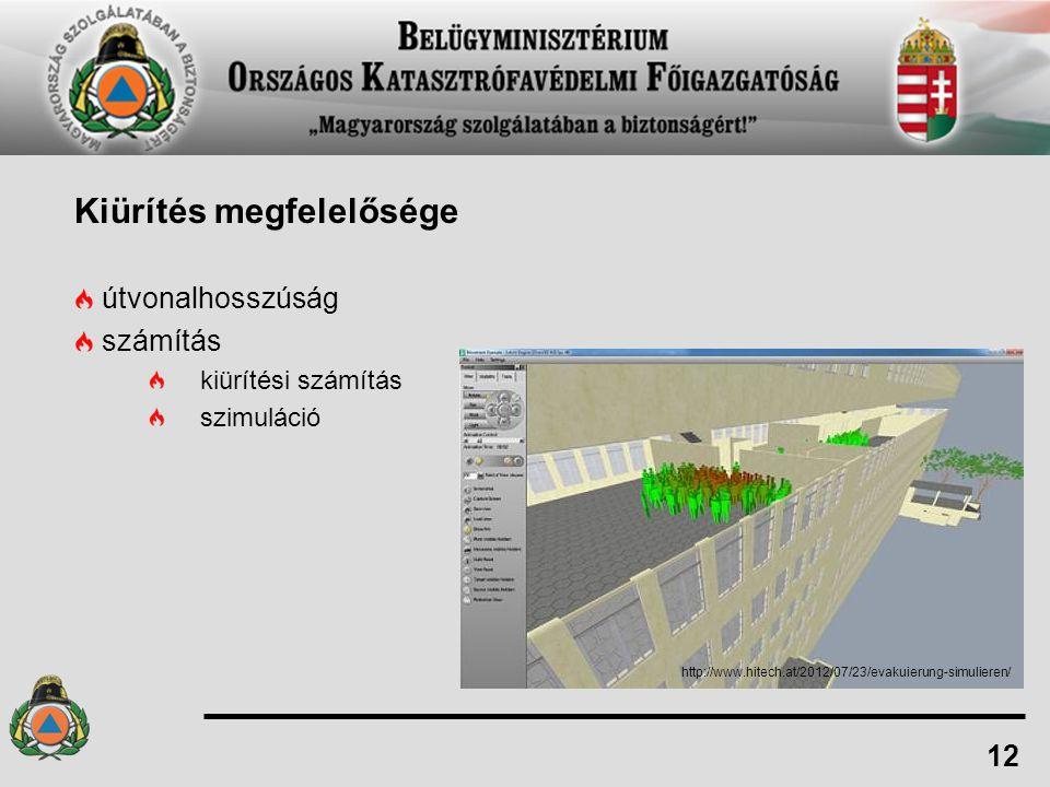 Kiürítés megfelelősége útvonalhosszúság számítás kiürítési számítás szimuláció 12 http://www.hitech.at/2012/07/23/evakuierung-simulieren/