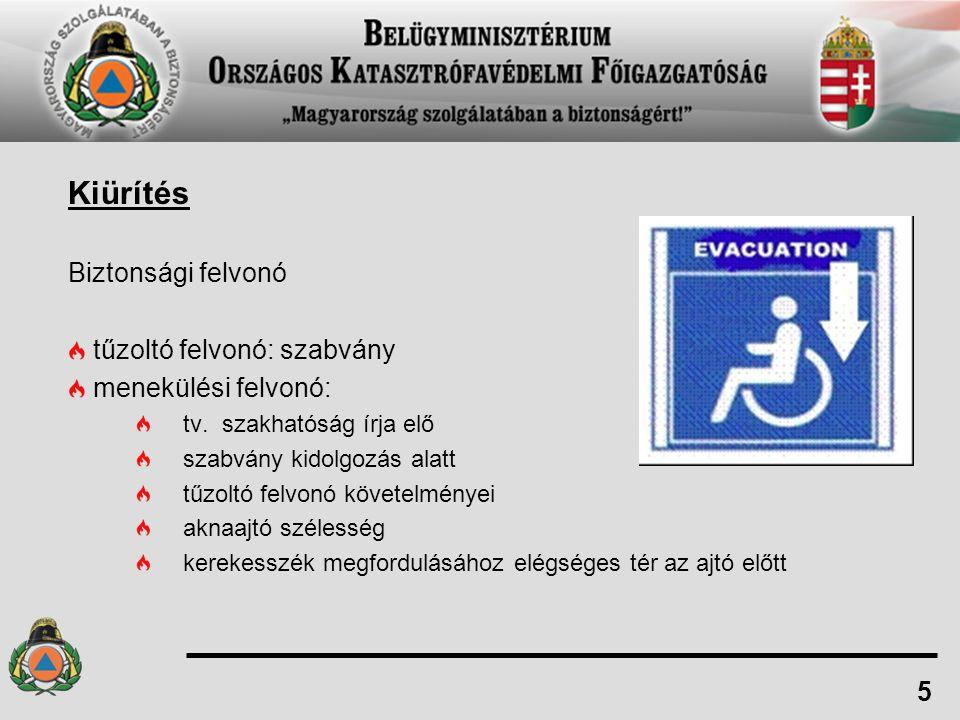 Kiürítés Biztonsági felvonó tűzoltó felvonó: szabvány menekülési felvonó: tv. szakhatóság írja elő szabvány kidolgozás alatt tűzoltó felvonó követelmé