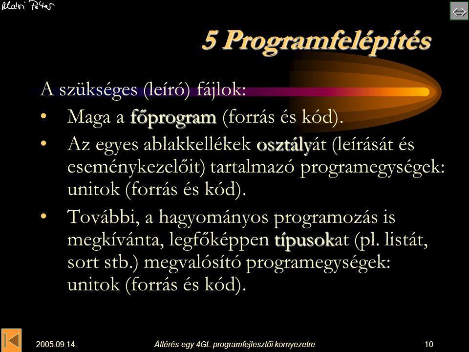 2005.09.14.Áttérés egy 4GL programfejlesztői környezetre10 5 Programfelépítés A szükséges (leíró) fájlok: főprogramMaga a főprogram (forrás és kó