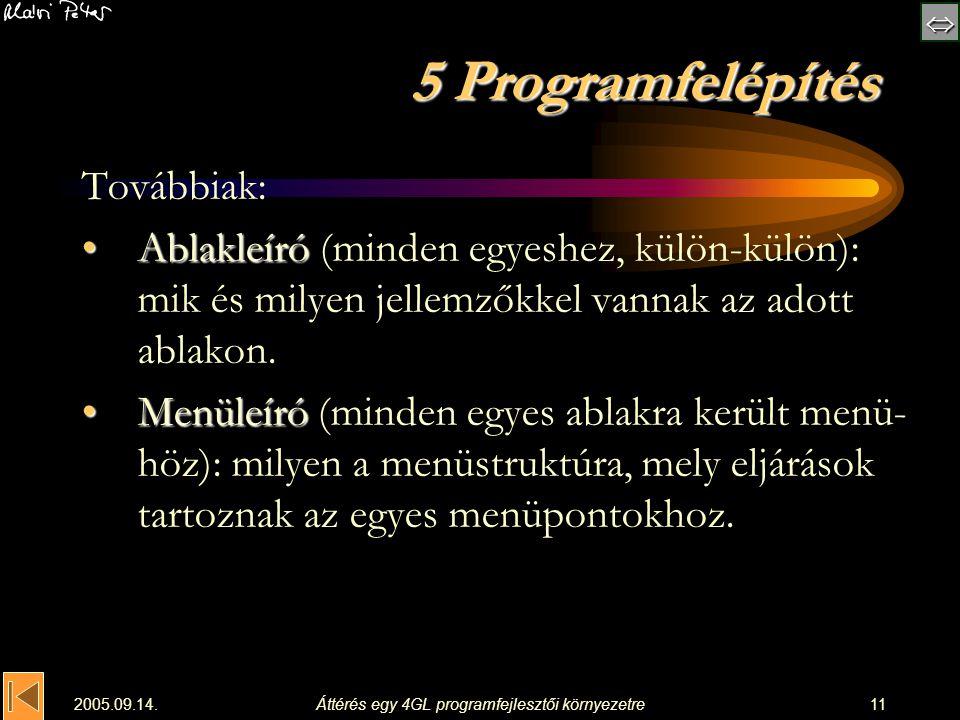  2005.09.14.Áttérés egy 4GL programfejlesztői környezetre11 5 Programfelépítés Továbbiak: AblakleíróAblakleíró (minden egyeshez, külön-külön): mik