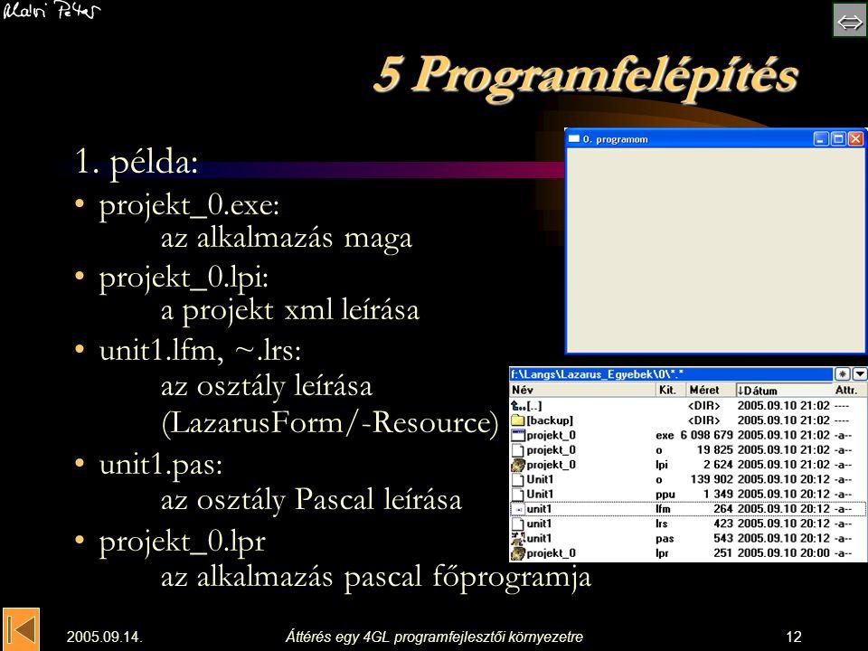  2005.09.14.Áttérés egy 4GL programfejlesztői környezetre12 5 Programfelépítés 1. példa: projekt_0.exe: az alkalmazás maga projekt_0.lpi: a projek