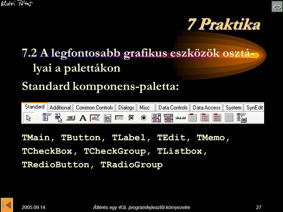  2005.09.14.Áttérés egy 4GL programfejlesztői környezetre27 7 Praktika 7.2 A legfontosabb grafikus eszközök osztá- lyai a palettákon Standard komp