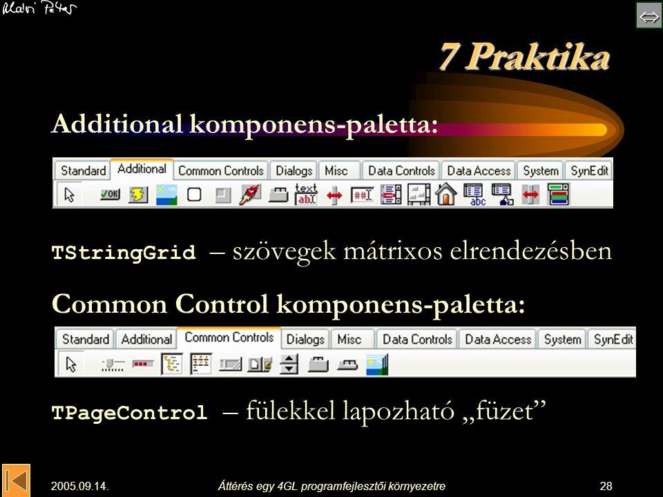  2005.09.14.Áttérés egy 4GL programfejlesztői környezetre28 7 Praktika Additional komponens-paletta: TStringGrid – szövegek mátrixos elrendezésben